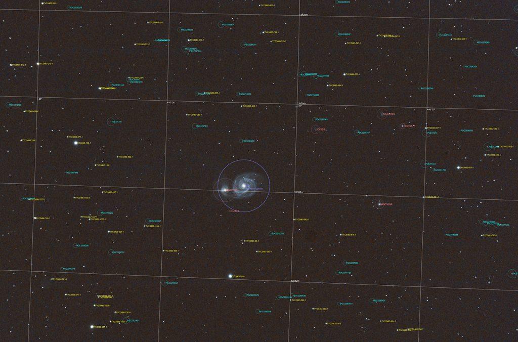 localizzazione mediante tool annotate delle galassie e oggetti non stellari presenti nel campo