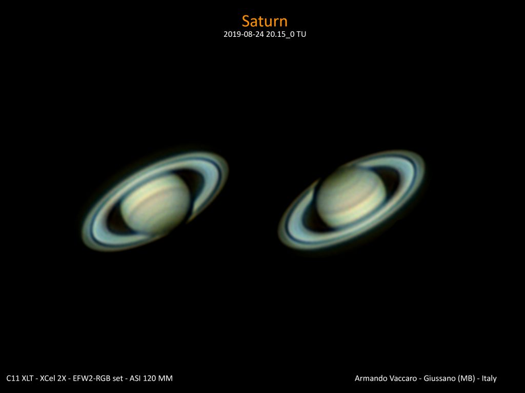 Opposizione di Saturno 2019. E' osservabile il pianeta che proietta l'ombra del suo disco sugli anelli. E' appena osservabile l'esagono polare.