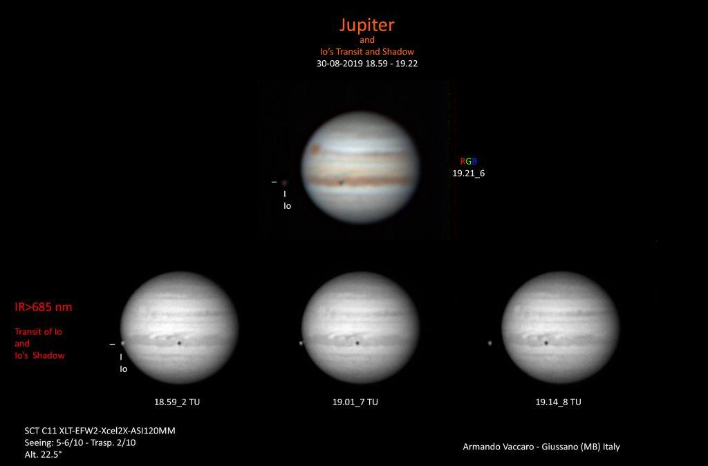 Giove la sera del 30 Agosto. Si osserva la GRS che tramonta e il transito di Io e della sua ombra. Il transito di Io ripreso solo nell'IR per risentire di meno degli effetti del seeing e dell'altezza del pianeta (circa 22.5°)